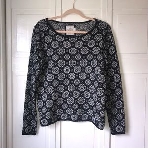 H&M L.O.G.G Flower Style Print Sweater, size Large